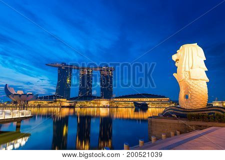 SINGAPORE - October 23 2016 : Illuminate at Marina Bay Sand. Singapore Marina Bay cityscape.