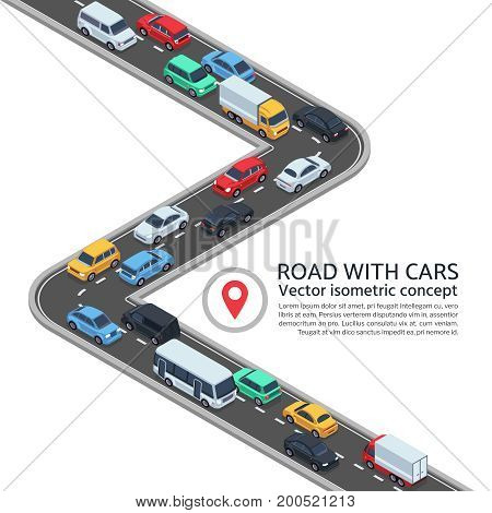 Isometric street with cars. 3d highway and vehicles vector concept. Highway street with vehicle car transportation illustration