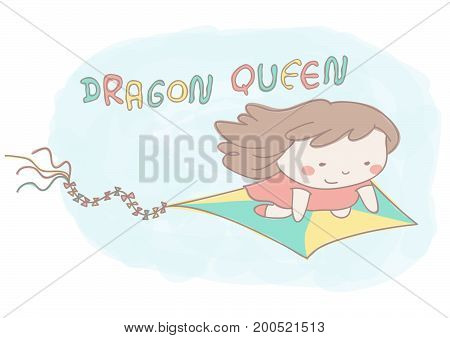 Beautiful little girl flying on kite dragon, cute vector illustration in hand drawn style