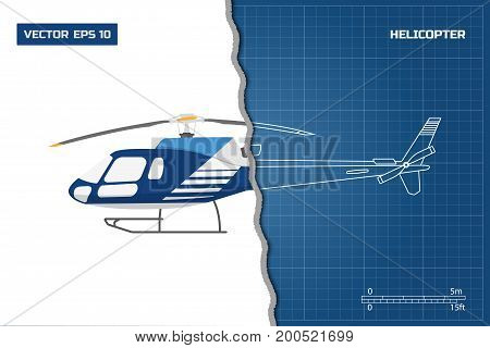 Engineering blueprint of helicopter. Helicopters view: top, side and front. Industrial drawing. Vector illustration