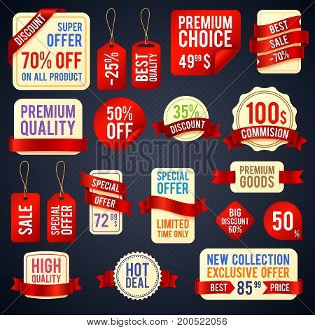 Holiday sale ribbon banners and sticker badges with promotional text vector set. Promotion label advertisement, marketing sticker and price discount illustration
