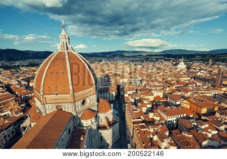 Duomo Santa Maria Del Fiore in Florence Italy viewed from top of bell tower.