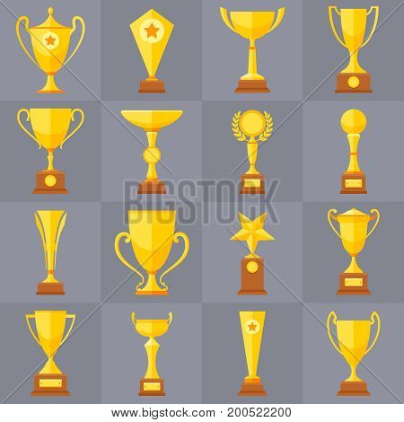 Winner trophy gold cups flat vector icons for sports victory concept. Sport award and prize, trophy cup illustration