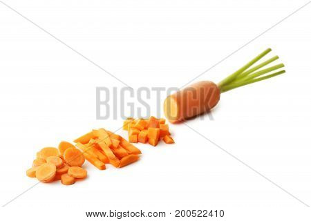 Fresh And Ripe Carrot Isolated On White