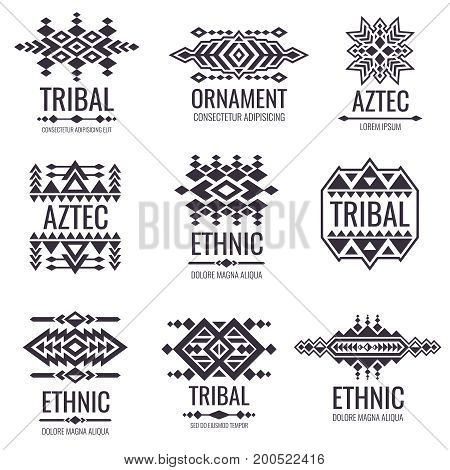 Tribal aztec vector pattern. Indian graphics for tattoo designs. Indian aztec tattoo tribal illustration