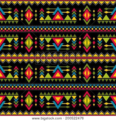 Navajo weaving fashion seamless vector pattern. Vintage tribal art print of ethnic african endless background. Culture ornament tribal maya geometric color pattern