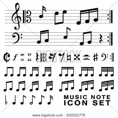 standard music notes symbol set vector eps10