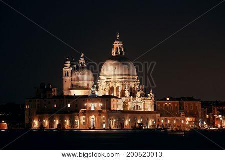 Church Santa Maria della Salute at night in Venice, Italy.