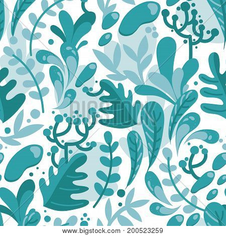 seamless pattern with leaves and berries in flat style,  floral ornament, cold colors, vector illustration