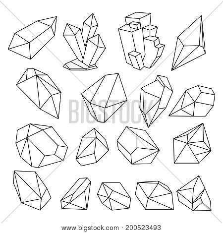 Geometric 3d crystal line shapes vector set. Crystal graphic line, geometric polygon illustration