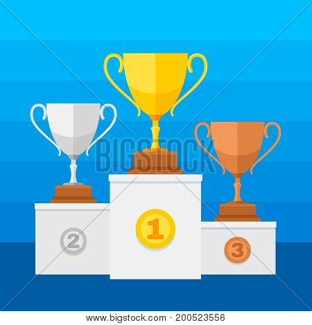 Competition winners podium with gold, silver and bronze trophy cups. Winner sport silver cup and gold. Vector illustration