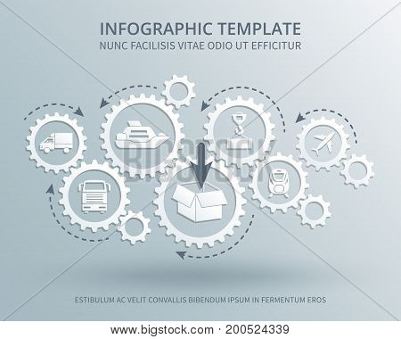 Delivery and distribution business vector consept with gears mechanism, transport, packing and shipping icons. Transportation and logistic industry illustration