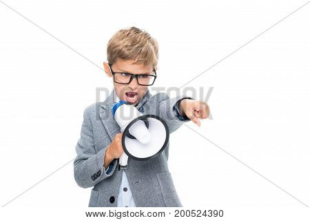 Schoolboy Shouting In Loudspeaker