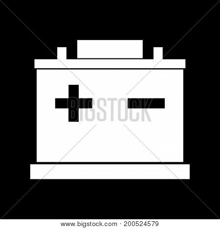 Car Battery White Color Icon .