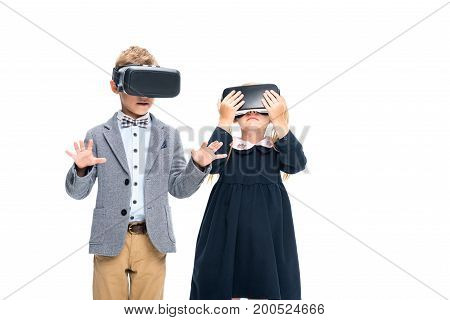 adorable pupils in VR headsets isolated on white