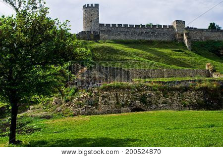 Kalemegdan fortress in spring, a view from right bank of Danube river in Belgrade, Serbia