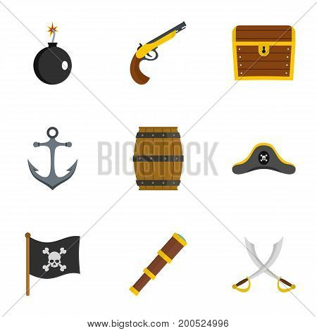 Pirates attributes icon set. Flat set of 9 pirates attributes vector icons for web isolated on white background