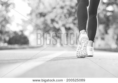Monochrome rearview cropped shot of a woman in sneakers walking in the forest copyspace footwear active lifestyle fitness sports concept.