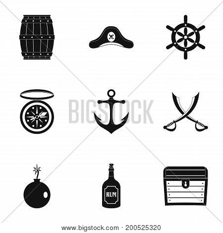 Pirates adventure icon set. Simple set of 9 pirates adventure vector icons for web isolated on white background