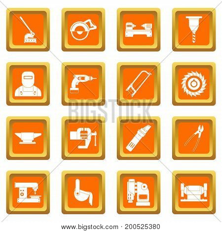 Metal working icons set in orange color isolated vector illustration for web and any design