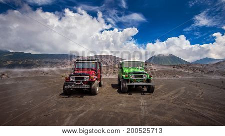 Java, Indonesia-Arpil 24, 2017 : Tourists 4x4 Jeep for tourist rent at Mount Bromo in East Java Indonesia.