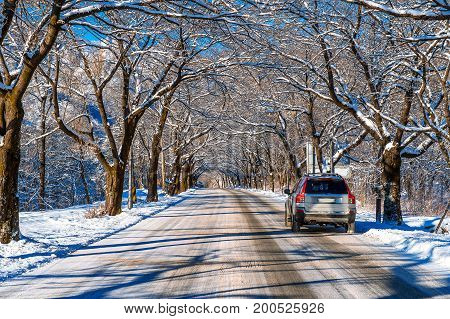 Car on road in winter Seoraksan in South Korea.