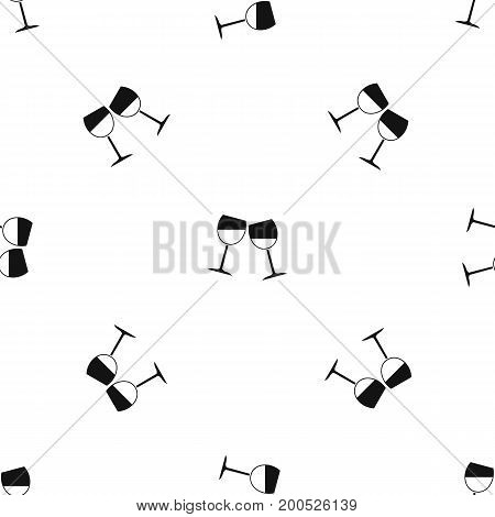 Two wine glasses pattern repeat seamless in black color for any design. Vector geometric illustration
