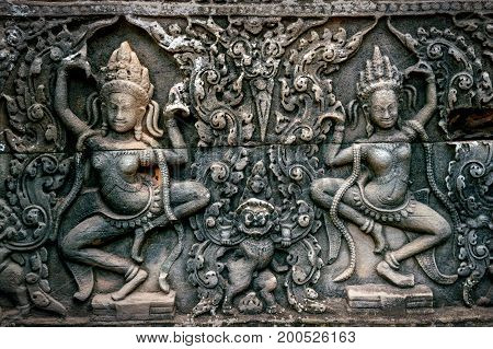 Bas Relief Statue of Khmer Culture in Angkor Wat Cambodia.
