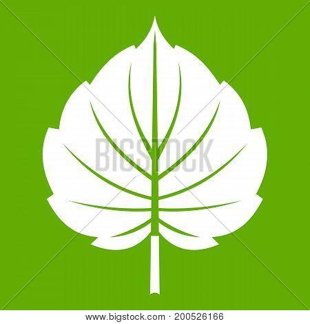 Alder leaf icon white isolated on green background. Vector illustration