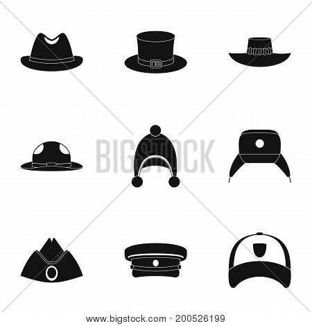 Hat accessory icon set. Simple set of 9 hat accessory vector icons for web isolated on white background