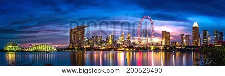 Panorama of Singapore central business district in night.