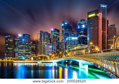 Singapore central business district skyline at night.