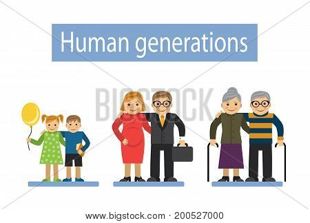 Three pairs of generations-children, adults and old people