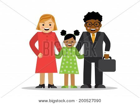 Mixed family of different races White mom black dad and baby mulatto