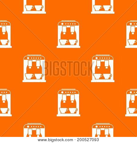 Coffee machine pattern repeat seamless in orange color for any design. Vector geometric illustration