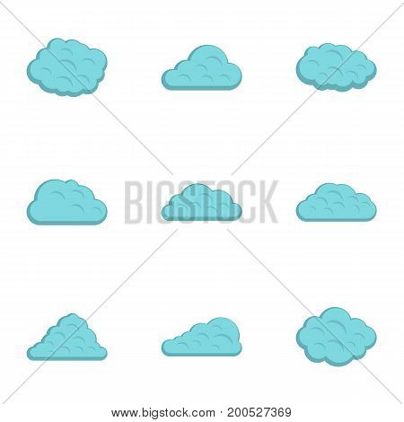 Rain cloud icon set. Flat set of 9 rain cloud vector icons for web isolated on white background