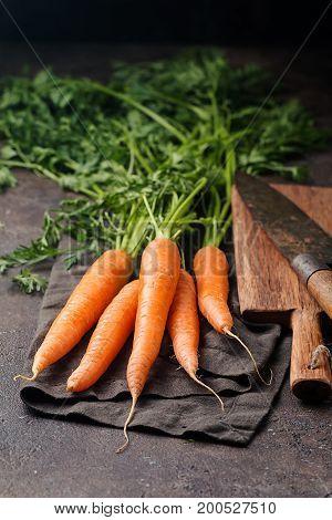 Fresh organic and sweet carrot over dark stone background