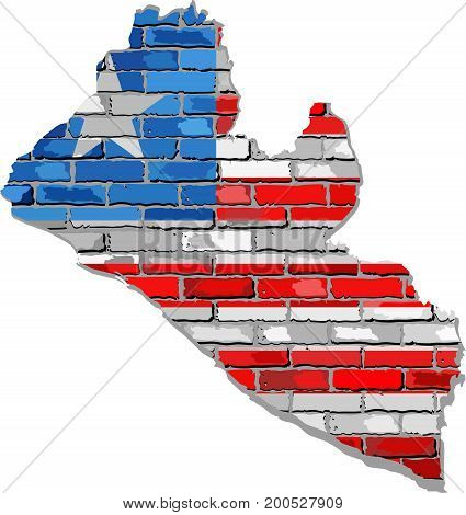 Liberia map on a brick wall - Illustration,   Liberia map with flag inside