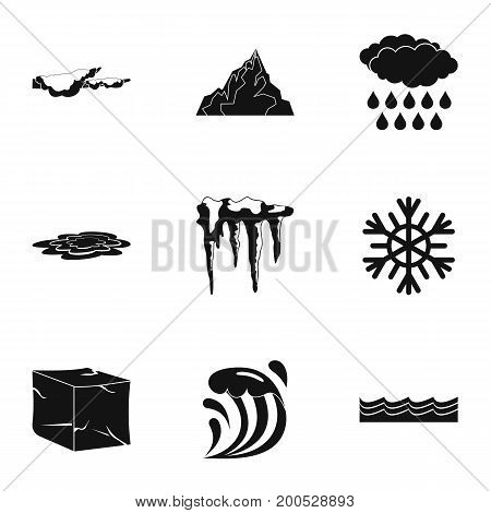 Water form icon set. Simple set of 9 water form vector icons for web isolated on white background