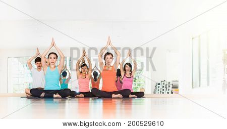 Yoga Class In Studio Room,group Of People Doing Tree Pose With Clam Relax Emotion,meditation Pose,we