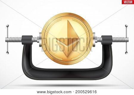 Cryptocurrency symbol ethereum being squeezed in vice. The concept of pressure on the digital currency by the government or banks. Vector Illustration isolated on background.