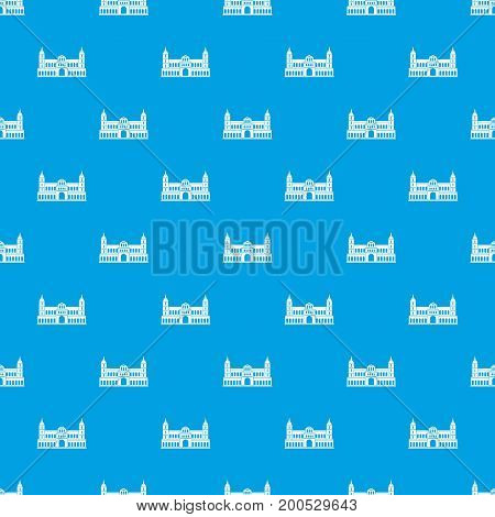 Castle pattern repeat seamless in blue color for any design. Vector geometric illustration