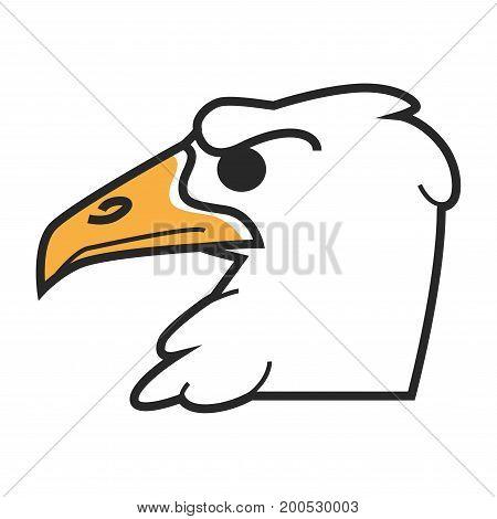 Vector illustration of white eagle head with orange beak isolated on white.