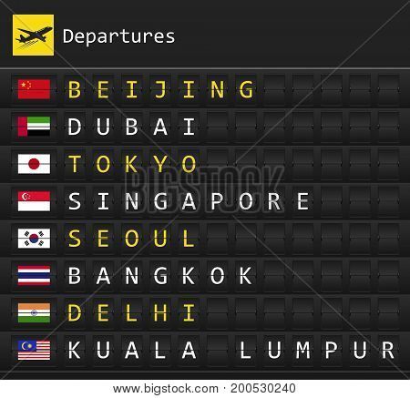 Airplane departures destination table board to major cities in Asia with national flags posted inside