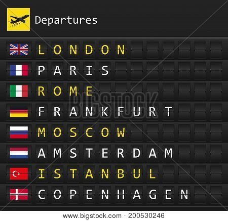 Airplane departures destination table board to major cities in Europe with national flags posted inside