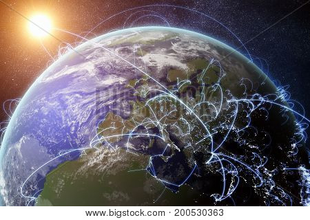 3D Rendered Illustration Of Earth And Connected Cities. Global N
