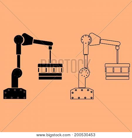 Robotic hand manipulator it is dark grey set icon .