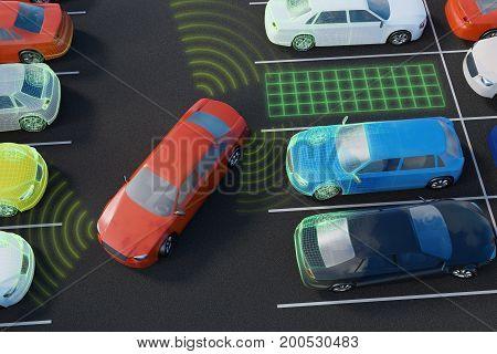 Car Is Parking With Autonomous Self-driving Parking Assistant. 3