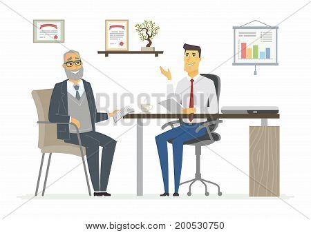 Office Meeting - vector illustration of a business situation scene. Cartoon people characters of young, senior males, men discussing work. Manager, advisor, consultant, lawyer giving advice, talking