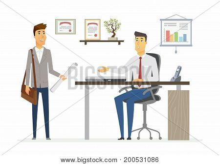 Office Day - vector illustration of a business situation. Cartoon people characters of young male colleagues, men at work. Manager, supervisor, secretary, subordinate discus project, giving assignment